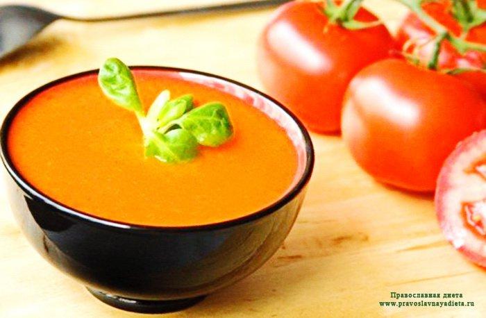 Суп из помидоров с чесноком