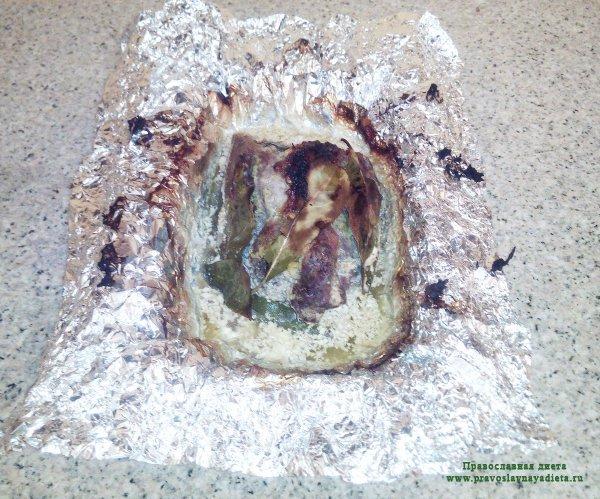 Мясо (шейка свиная) запеченое со сливками